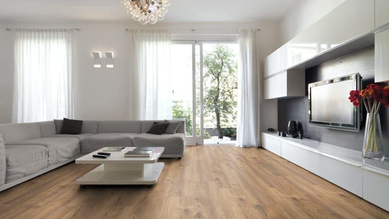 Laminat BoDomo Premium Spring Oak Nature Produktbild Wohnzimmer - Urban mit Wohnwand zoom