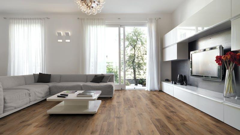 Rigid-Vinyl mit integrierter Dämmung BoDomo Exquisit Kibo Oak Produktbild Wohnzimmer - Urban mit Wohnwand zoom