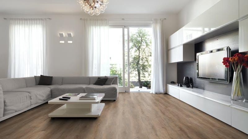Rigid-Vinyl mit integrierter Dämmung BoDomo Exquisit Meru Oak Produktbild Wohnzimmer - Urban mit Wohnwand zoom