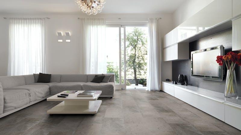Rigid-Vinyl mit integrierter Dämmung BoDomo Exquisit Plaza Gris Produktbild Wohnzimmer - Urban mit Wohnwand zoom