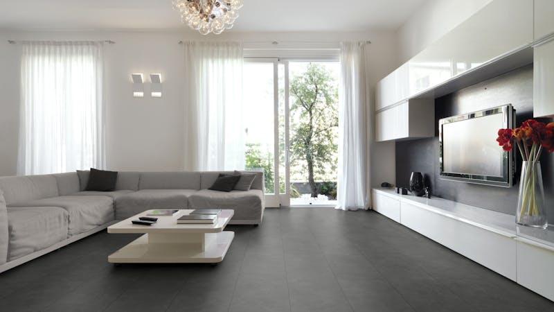 Laminat BoDomo Exquisit Vola Scuro Produktbild Wohnzimmer - Urban mit Wohnwand zoom