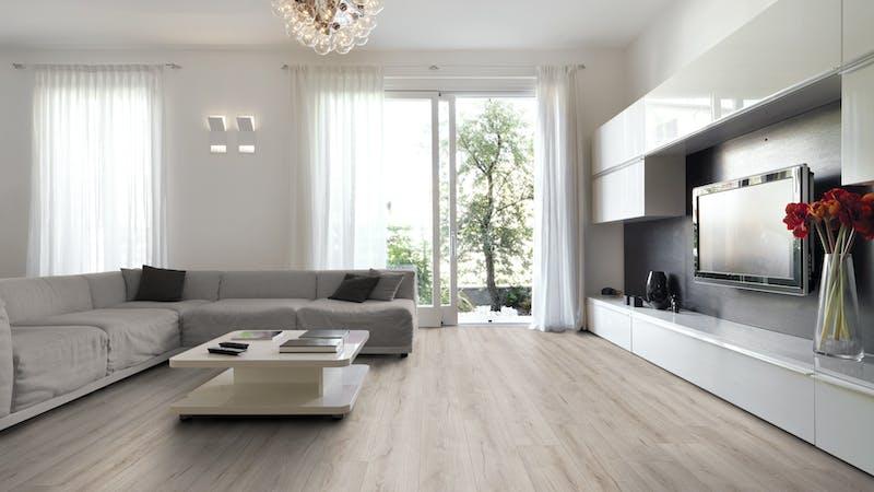 Laminat BoDomo Exquisit Roble Grey Produktbild Wohnzimmer - Urban mit Wohnwand zoom