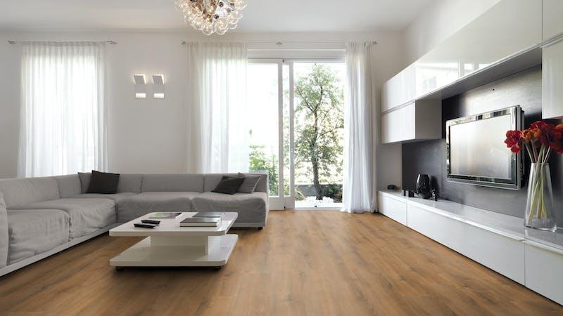 Laminat BoDomo Klassik Capri Oak Produktbild Wohnzimmer - Urban mit Wohnwand zoom