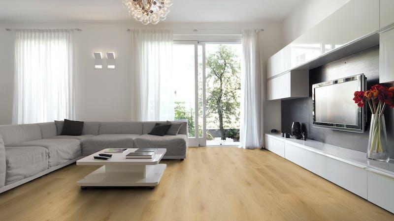 Rigid-Vinyl mit integrierter Dämmung BoDomo Klassik Straßburg nature Produktbild Wohnzimmer - Urban mit Wohnwand zoom
