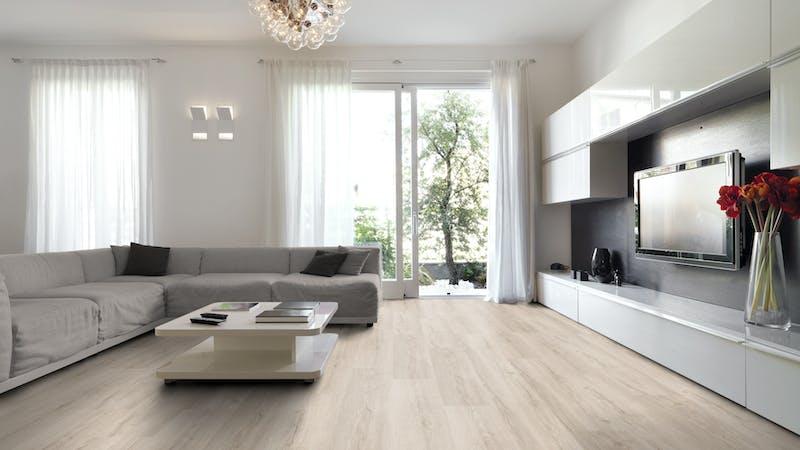 Rigid-Vinyl mit integrierter Dämmung BoDomo Klassik Montreal Oak white Produktbild Wohnzimmer - Urban mit Wohnwand zoom