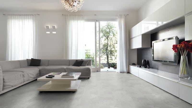 Rigid-Vinyl mit integrierter Dämmung BoDomo Klassik Kamea grey Produktbild Wohnzimmer - Urban mit Wohnwand zoom