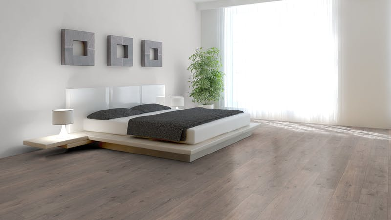 Laminat BoDomo Klassik Tajo Eiche Grau Produktbild Schlafzimmer - Urban zoom