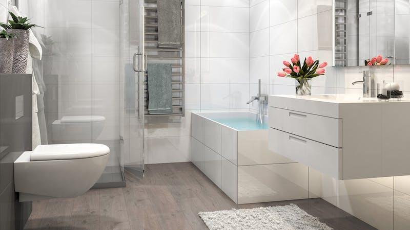 Laminat BoDomo Klassik Tajo Eiche Grau Produktbild Badezimmer - Klassisch zoom